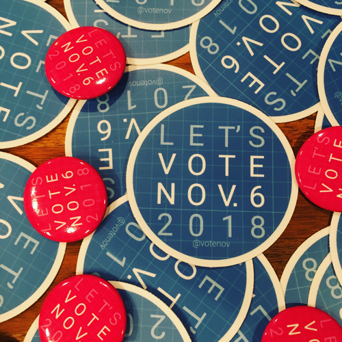 let's vote stickers and buttons