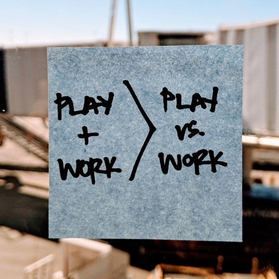 Sticky note that ready Play + Work.