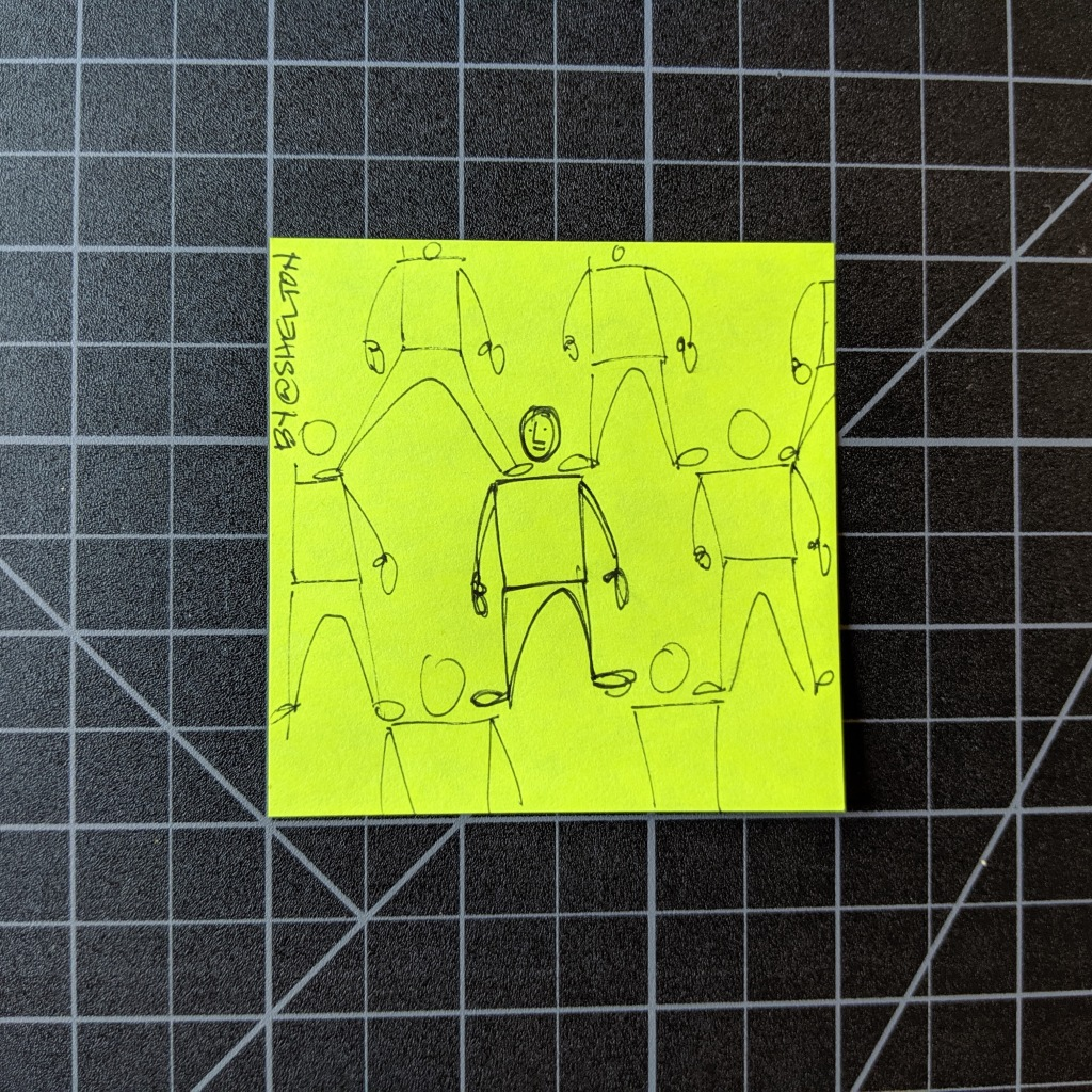 post it note with a sketch of people standing on each other's shoulders