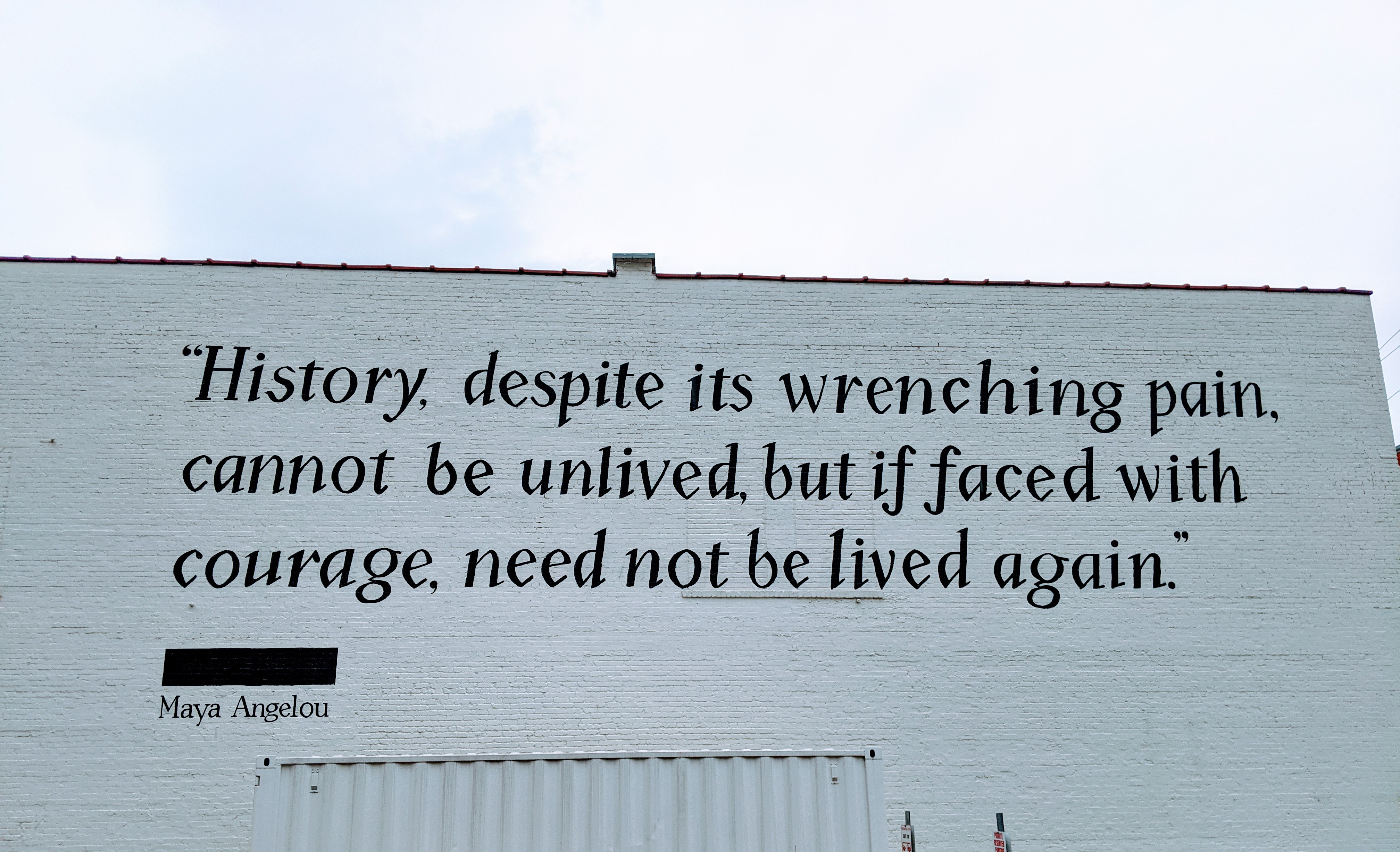 """Maya Angelou quote, """"History, despite its wrenching pain, cannot be unlived, but if faced with courage, need not be lived again."""""""
